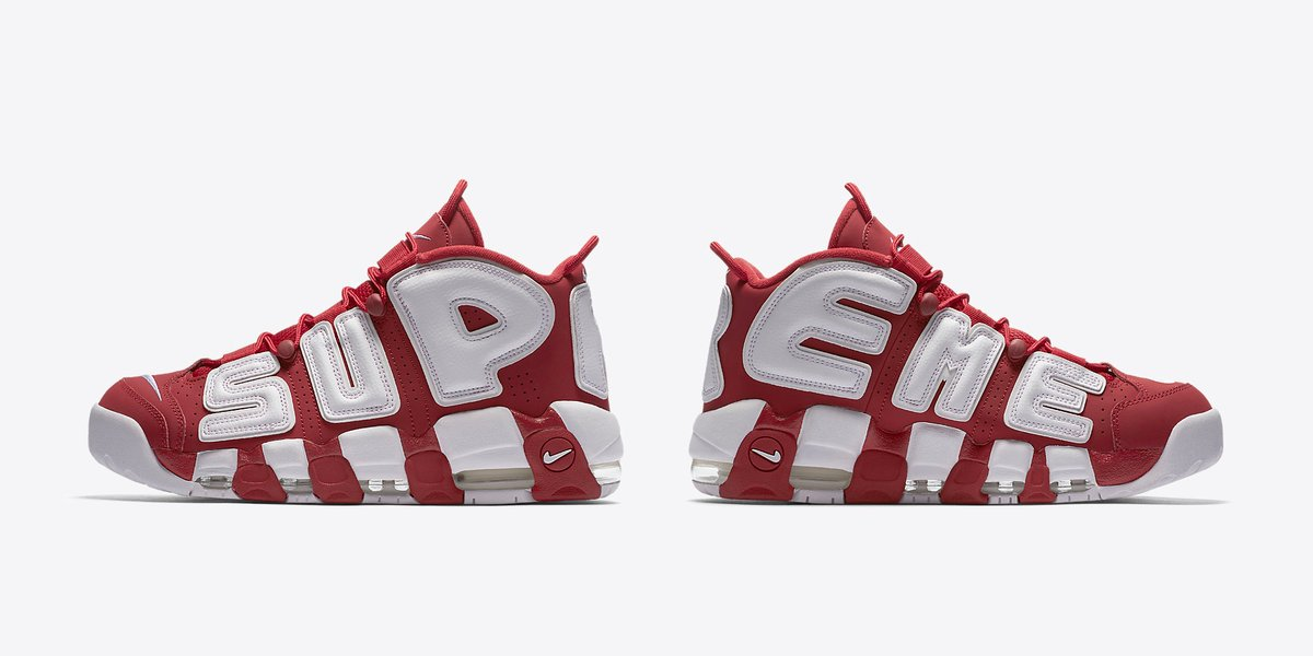 Made exclusively for Supreme, the Nike Air More Uptempo will be available  in three colourways.